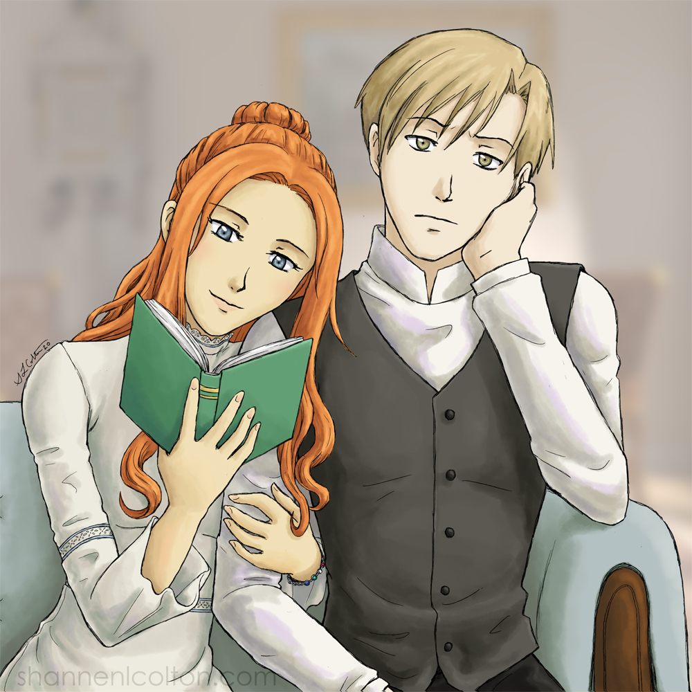 Image of Raeya reading while leaning on Nils' shoulder and Nils looking displeased.